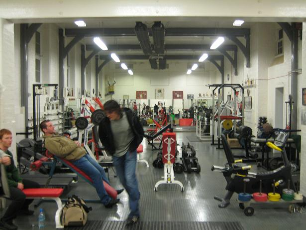 This is the main free weights area where the powerlifting goes on.  Thats Giles Goodwood darting out of the shot.