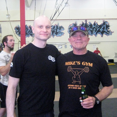 Colin McNulty with Mike Burgener at the CrossFit Olympic Weightlifting certification at CrossFit Velocity in Swansea